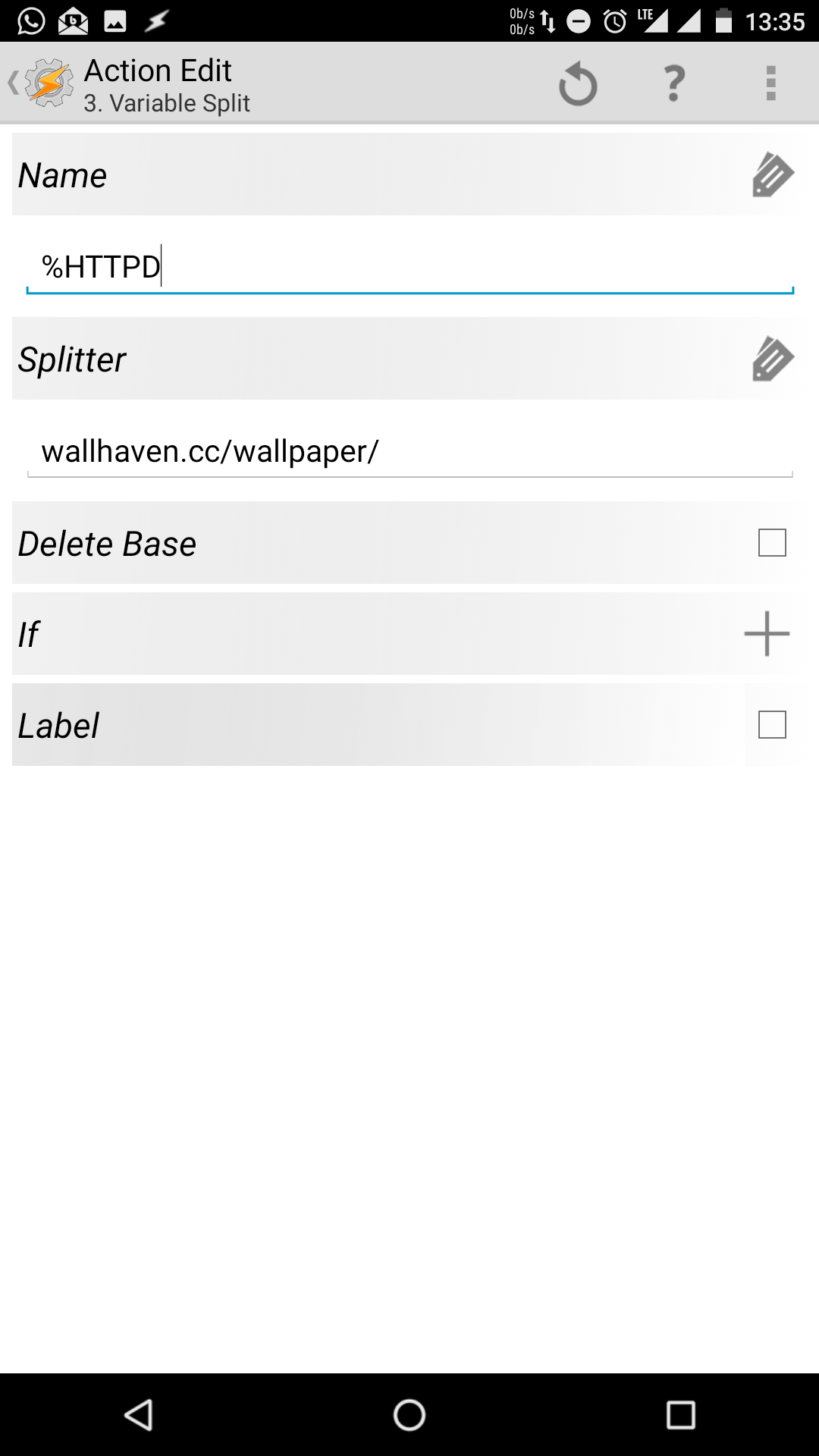 Action Edit - Variable Split